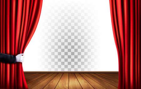 Tende teatro con uno sfondo trasparente. Vettore. Archivio Fotografico - 57231218