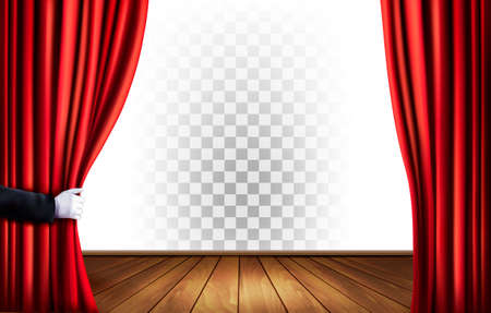 Theater curtains with a transparent background. Vector. Stock Vector - 57231218