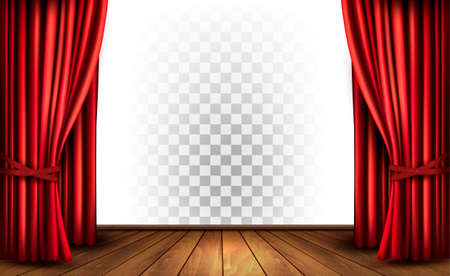 Theater curtains with a transparent background. Vector. Reklamní fotografie - 57231220