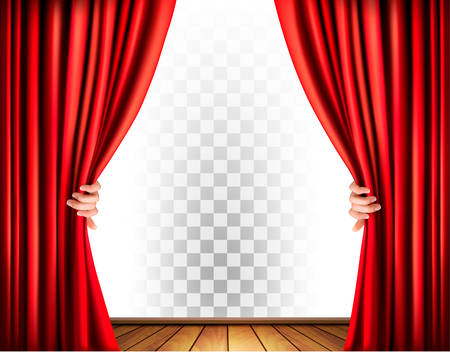 Theater curtains with a transparent background. Vector.
