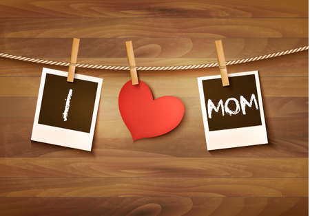 Photos hanging on a clothesline, spelling out I love mom. Mother's Day background. Vector.