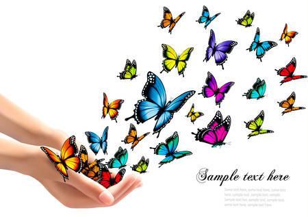 Hands releasing colorful butterflies. Vector illustration