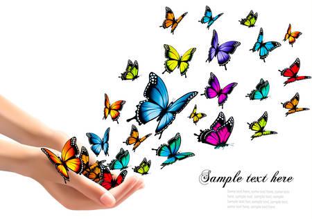 releasing: Hands releasing colorful butterflies. Vector illustration