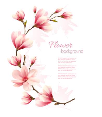 Natur-Hintergrund mit Blüte Brunch von rosa Blüten. Vektor Vektorgrafik