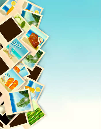 travel collage: Travel Background With Photos From Holidays On A Seaside. Vector