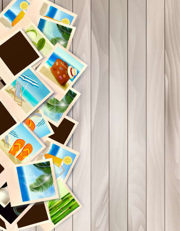 wood frame: Travel Background With Photos From Holidays On A Seaside On Wooden Desk. Vector Illustration