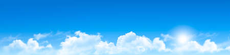 Nature  background with blue sky and clouds. Vector.