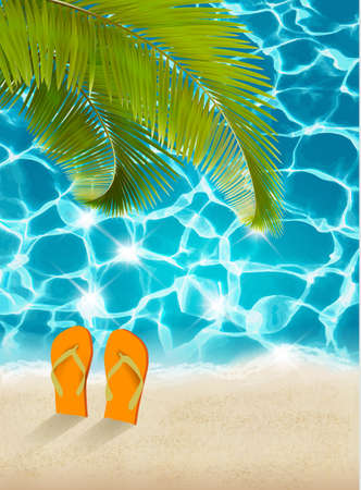 flops: Vacation background. Beach with palm trees and blue sea. Vector.