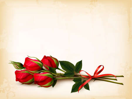 edit valentine: Holiday background with bouquet of red roses. Vector.