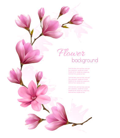 close: Nature background with blossom brunch of pink flowers. Vector