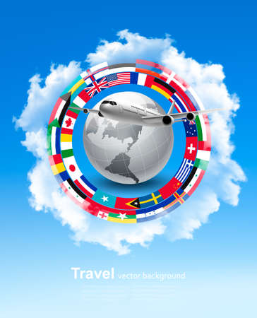 world flags: Travel background. Globe with a plane and a circle of flags and blue sky. Vector. Illustration