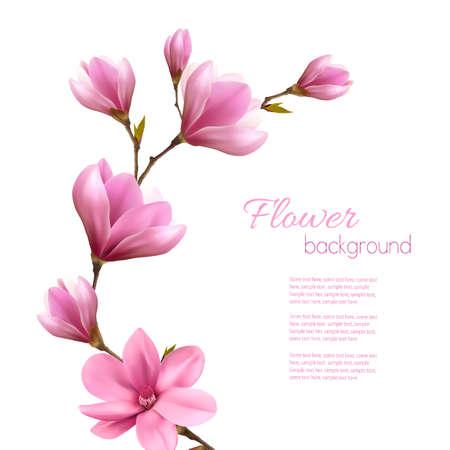 Natur Hintergrund mit Blüten Zweig der rosa Magnolie. Vektor