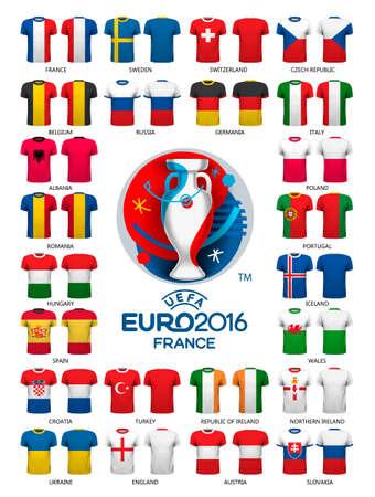 uefa: Euro 2016 football jerseys templates. Vector.
