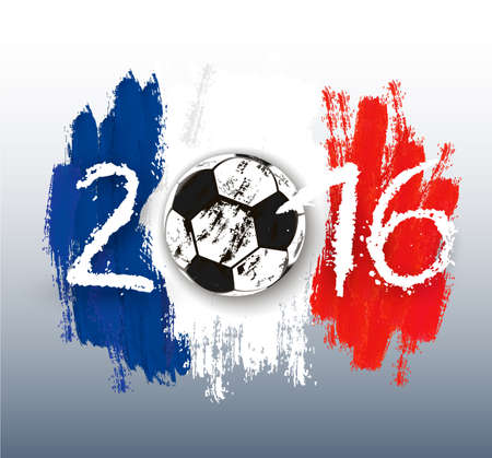 red white blue: France Football Championship banner. Vector.
