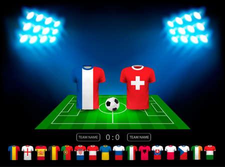 tournament chart: European football championship 2016 in France. Vector.