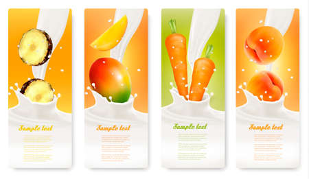 yogurt: Set of banners with fruit and milk. Vector.