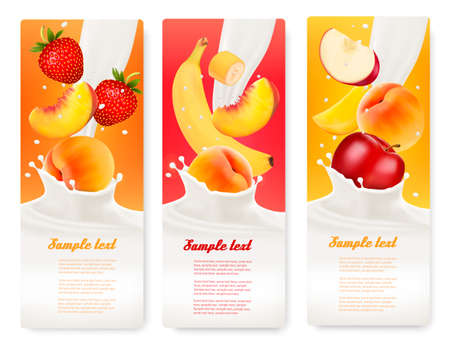 label design: Three labels with different fruit falling into splashes of milk. Vector. Illustration