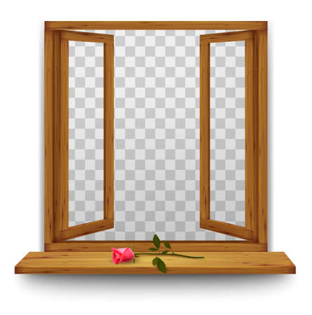 Wooden window with a red rose on the windowsill. Vector. Illustration