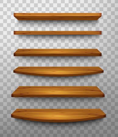 wooden shelves: Set of wooden shelves on a transparent background. Vector.