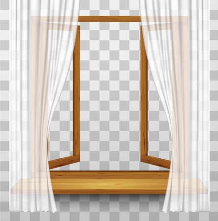 marco de la ventana de madera con cortinas en un fondo transparente. Vector.