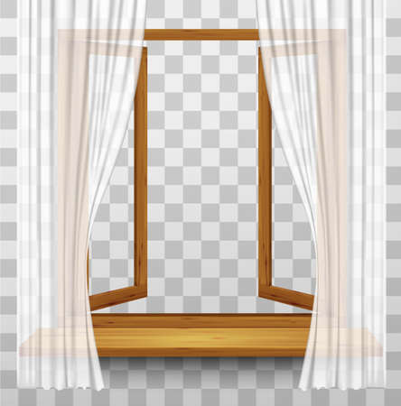 window view: Wooden window frame with curtains on a transparent background. Vector.