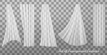Collection of transparent curtains. Vector