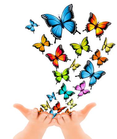 Mains libérant des papillons. Vector illustration