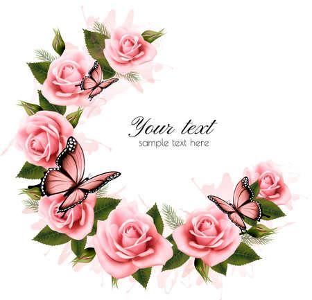Holiday achtergrond met schoonheid bloemen en vlinders. Vector. Stock Illustratie