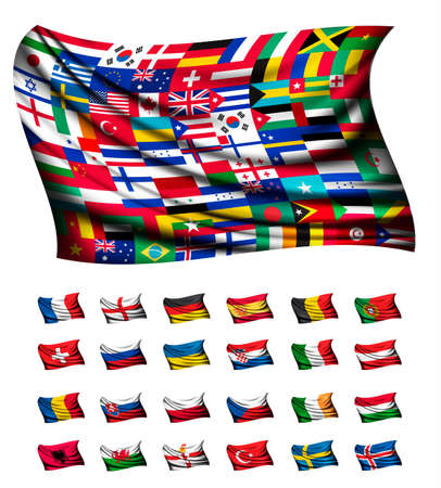 state: Huge flag, consisting of different countries. Vector.