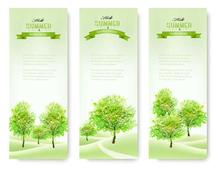 nature green: Green nature summer banners. Vector. Illustration