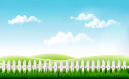 hedge: White fence in nature summer background. Vector.
