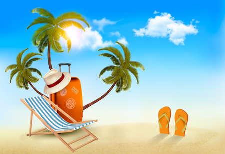 playa tropical con la palma de la mano, una silla de playa y una maleta. Fondo de las vacaciones. Vector.