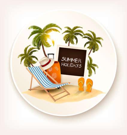 island paradise: Summer holidays background. Vacation memories. Vector.