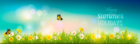 butterfly background: Happy summer holidays banner with flowers, grass and butterflies. Vector.