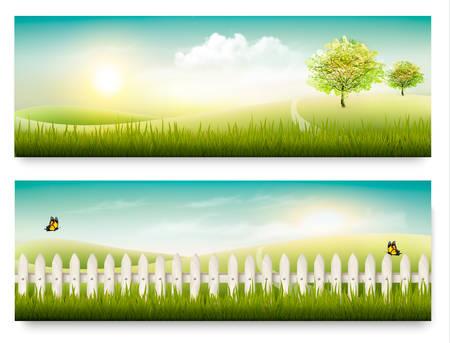 青空: 2 つの夏の田舎風景バナー。ベクトル。