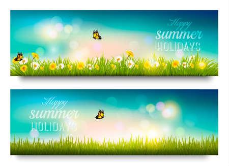 Felice banner vacanze estive con i fiori, l'erba e le farfalle. Vettore.