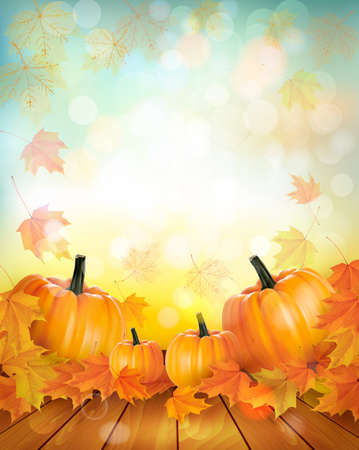 autumn leaves background: Pumpkins on wooden background with leaves. Autumn background. Vector. Illustration