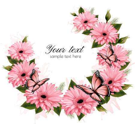 pink flowers: Beautiful holiday card with pink flowers. Vector.