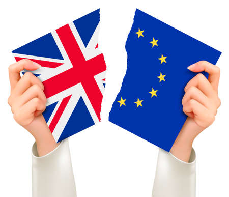 england politics: Two torn flags - EU and UK in hands. Brexit concept. Vector.