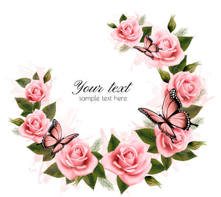 single flower: Holiday background with beauty flowers and butterflies. Vector.