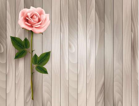 Einzelne rosa Rose auf einem alten hölzernen Hintergrund. Vektor.
