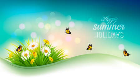 Happy summer holidays background with flowers, grass and butterflies. Vector Illustration