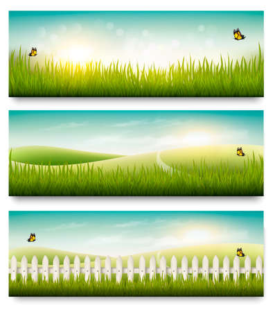 blue and green: Nature summer banners with green grass and blue sky. Vector
