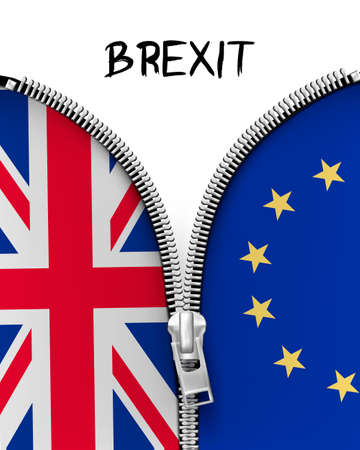 england politics: Zipper dividing UK and EU in a Brexit concept. Vector.