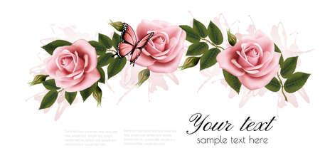 Marco de flores con rosas de color rosa belleza. Vector.