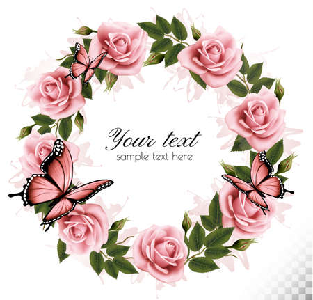 pink rose: Holiday background with beauty flowers and butterflies. Vector.