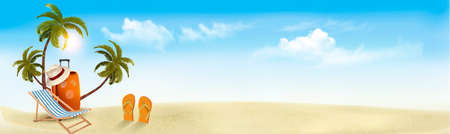Tropical seaside with palms, a beach chair and a suitcase. Vacation background. Vector. 일러스트