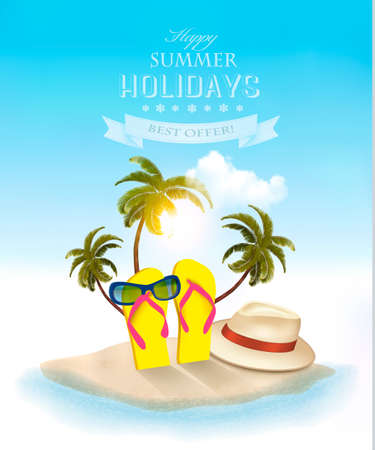 playas tropicales: playa tropical con la palma de la mano, una silla de playa y una maleta. Fondo de las vacaciones. Vector