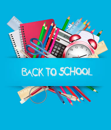 Back to school. Background with school supplies. Vector Illustration