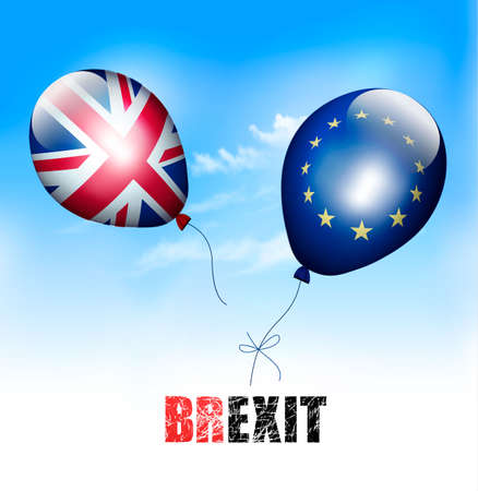 UK and EU on balloons. Brexit concept. Vector.